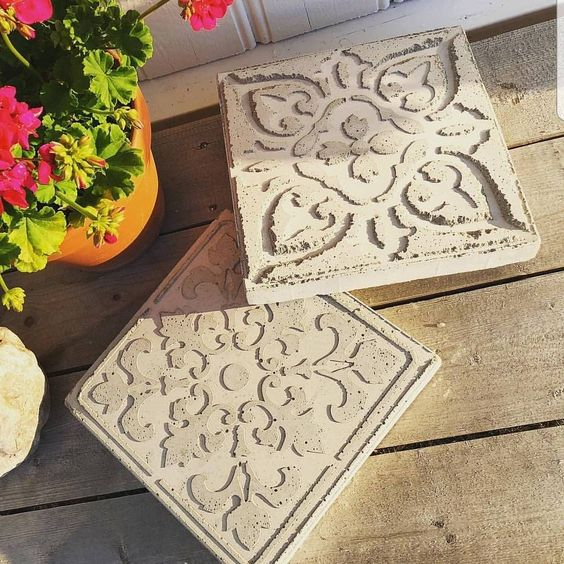 Pochoir pour béton et dalles de jardin décoratif - Avec ...