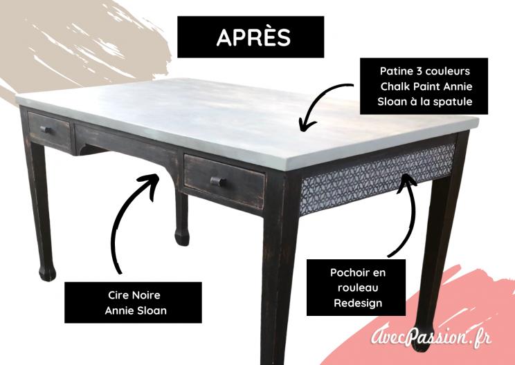 relooker bureau table chalk paint annie sloan apres
