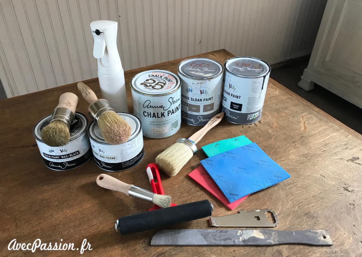 materiel relooker bureau chalk paint annie sloan