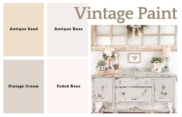 Shabby Chic Peinture Chalk Paint Vintage Paint Antique Sand Antique Rose Vintage Cream Faded Rose